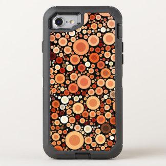 Pfirsich-Orange kreist geometrisches Muster ein OtterBox Defender iPhone 8/7 Hülle