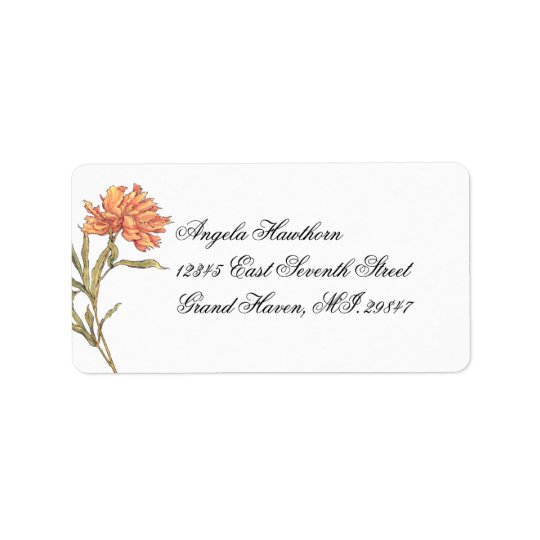 Pfirsich-Pfingstrose Blumen-UAWG Adressen-Etikett Adressaufkleber