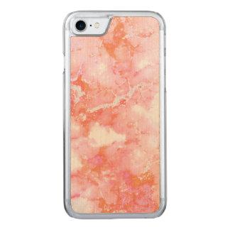Pfirsich-rosa bewölkter Marmorstein Carved iPhone 8/7 Hülle