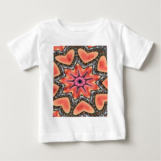 Pfirsich-rosa Kaleidoskop-flippiges Muster Baby T-shirt