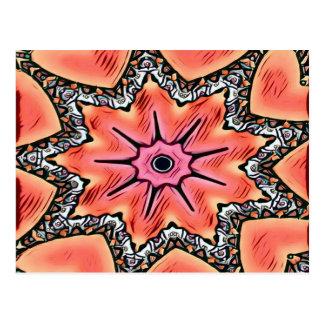 Pfirsich-rosa Kaleidoskop-flippiges Muster Postkarte