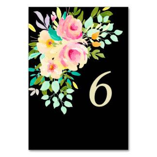 Pfirsich-rosa Rosen auf schwarzer Hochzeit Karte