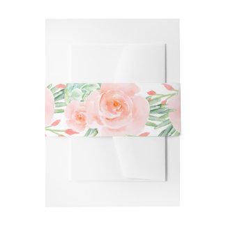 Pfirsich-Rosen-Bauchband des Watercolor saftiges Einladungsbanderole