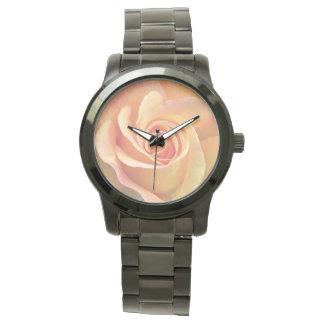 Pfirsich-Rosen-Blumenarmbanduhr Uhr