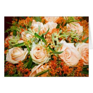 Pfirsich-Rosen-Blumenstrauß Karte
