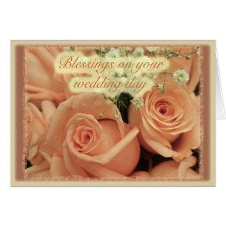Pfirsich-Rosen, die Segen Wedding sind Karte