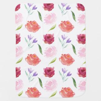 Pfirsich-Sahnestreifenwatercolor-Blumen Babydecke