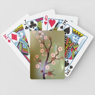 Pfirsich-Schablonenblüten auf Zweigen Bicycle Spielkarten