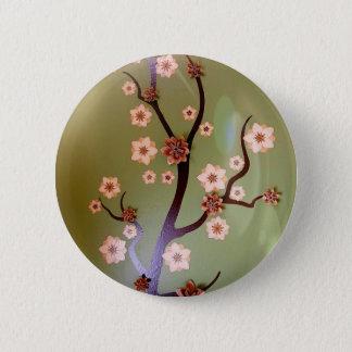 Pfirsich-Schablonenblüten auf Zweigen Runder Button 5,1 Cm
