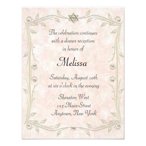 Pfirsich-Schläger Mizvah Empfang Einladungen