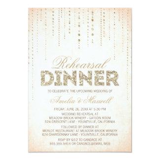 Pfirsich-u. GoldGlitter-Blick-Proben-Abendessen 12,7 X 17,8 Cm Einladungskarte