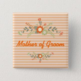 Pfirsich-u. Olivgrün-Blumenhochzeits-Mutter des Quadratischer Button 5,1 Cm