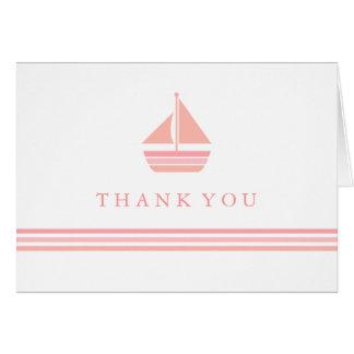 Pfirsich u. rosa Segelboot danken Ihnen zu Karte