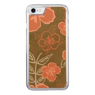 Pfirsich-und Browns hawaiisches Hibiskus-Muster Carved iPhone 8/7 Hülle