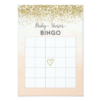 Pfirsich-und GoldBabyparty-Bingo-Karte 12,7 X 17,8 Cm Einladungskarte