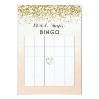Pfirsich-und GoldBrautparty-Bingo-Karte 12,7 X 17,8 Cm Einladungskarte