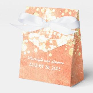 Pfirsich- und Goldhochzeitsschnur-Lichter Glitz Geschenkkarton