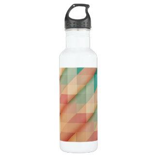 Pfirsich und Grün-abstraktes geometrisches Edelstahlflasche