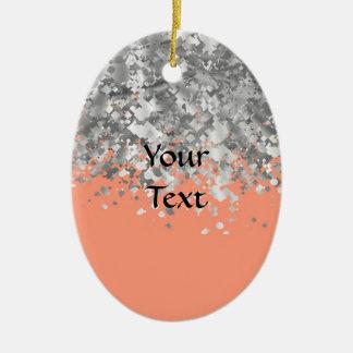 Pfirsich- und Imitat-Glitter personalisiert Keramik Ornament