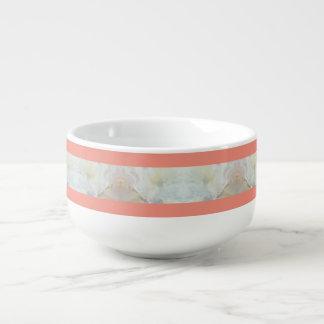 Pfirsich-und Marmor-Streifen-Muster Große Suppentasse