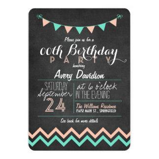 Pfirsich-und Minzen-grünes Tafel-Geburtstags-Party 12,7 X 17,8 Cm Einladungskarte