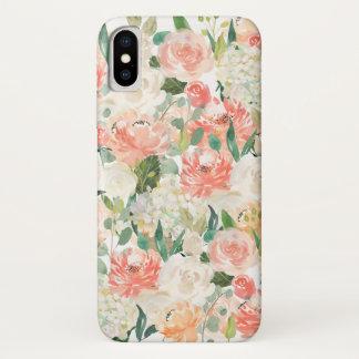 Pfirsich-und Rosa-weibliches Aquarell mit Blumen iPhone X Hülle