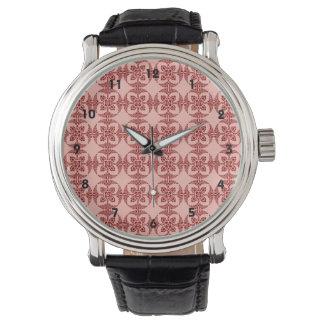 Pfirsich und rotes mit Blumengeometrisches Armbanduhr