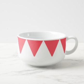 Pfirsich-und weiße Dreieck-Retro Muster Große Suppentasse