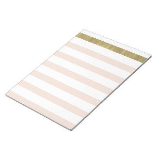 Pfirsich-weißes Gold Stripes II Notizblock