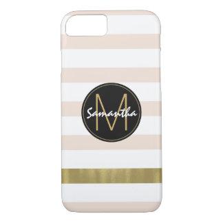 Pfirsich-weißes Gold Stripes Monogramm iPhone 8/7 Hülle