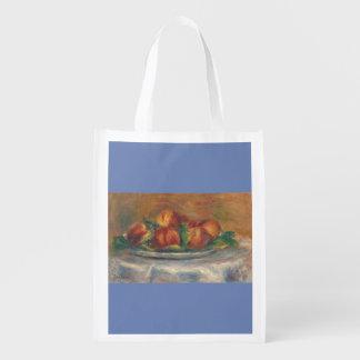 Pfirsiche auf einer Platte Wiederverwendbare Einkaufstasche