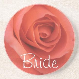 Pfirsichfarbene Hochzeits-Rose Bierdeckel