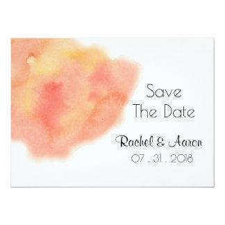 Pfirsichfarbene korallenrote Watercolor-Wäsche, 14 X 19,5 Cm Einladungskarte