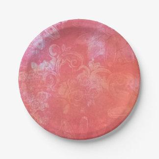 Pfirsichfarbener roter Freuden-Pappteller Pappteller