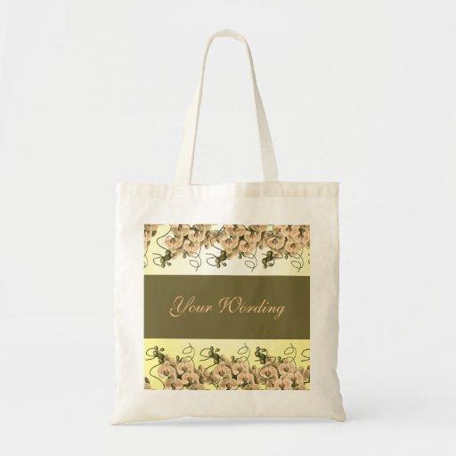 PfirsichorchideenblumenTaschentaschen - fertigen S Leinentasche
