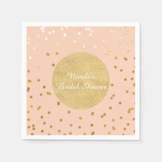 Pfirsichu. Goldglänzendes Confetti-Punkt-Chic Papierservietten