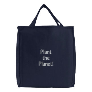 Pflanze der Planet! Bestickte Tragetasche