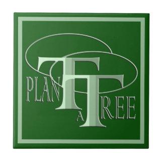 Pflanze eine Baum-Text-Entwurfs-Waldgrün-Fliese Fliese