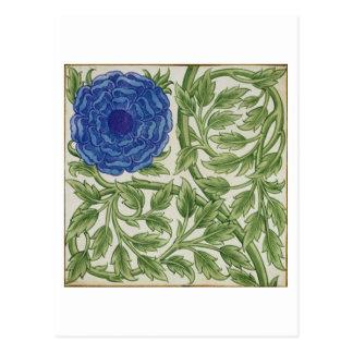 Pflanze mit einer blauen Blume (w/c auf Papier) Postkarte