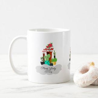 Pflanzen-Dame ist die neue Katzen-Dame - bunte Kaffeetasse