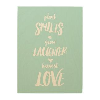 Pflanzen-Lächeln wächst Holzwanddeko