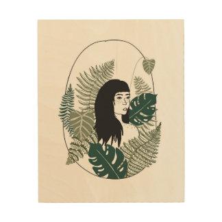 Pflanzen-Mädchen-hölzerne Wand-Kunst Holzwanddeko