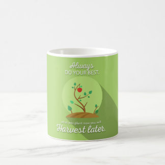 Pflanzen, was Sie grünen flachen Entwurf ernten Kaffeetasse