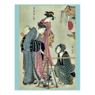 Pflanzenverkäufer durch Torii, Kiyonaga Ukiyoe Postkarte
