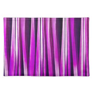 Pflaume lila und und Stripy Linien Muster Stofftischset