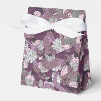 Pflaume u. graue Blumen - Band-Bevorzugungs-Kasten Geschenkschachtel