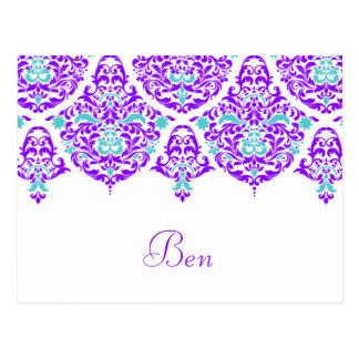 Pflaumen-Aqua-Namenskarte 311 Montages Cherie Ben Postkarte