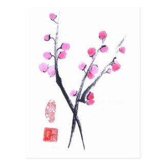 Pflaumen-Blüte stößt in der weißen Postkarte luft