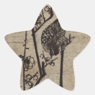 Pflaumen-Blüte und Bush-Trällerer durch Hiroshige Stern-Aufkleber