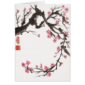 Pflaumen-Blüten-Kurven-leere Karte